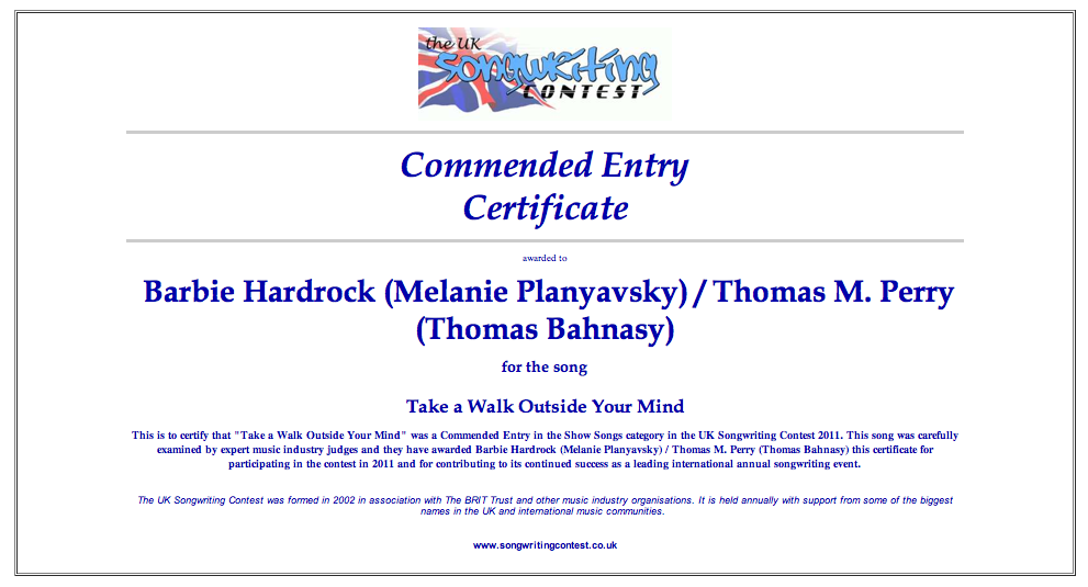 """Read more about the article UK Songwriting Contest """"Take a Walk Outside Your Mind"""": commended entry"""